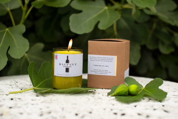 under the fig tree candle by half cut candles