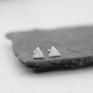 mini triangle studs by lucy kemp jewellery