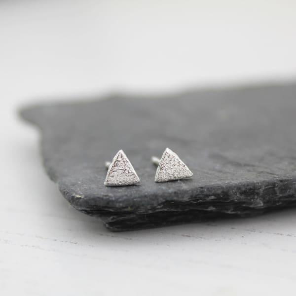 mini triangle studs by lucy kemp jewellery