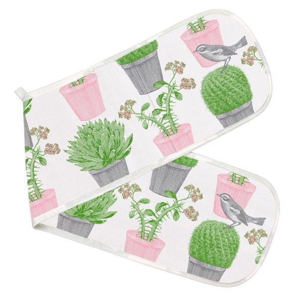 cactus and bird oven gloves