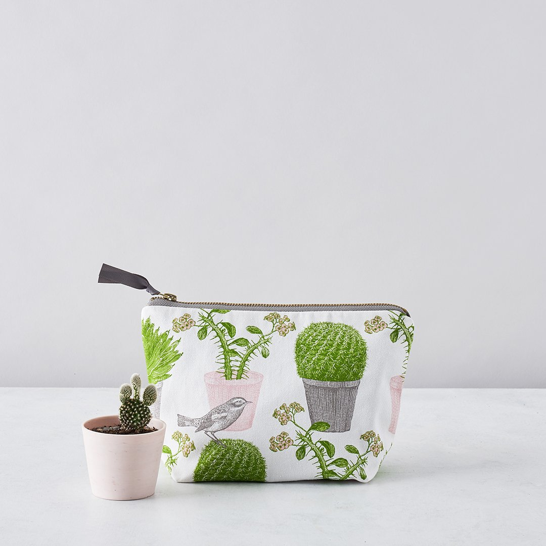 thornback and peel cactus and bird cosmetic bag