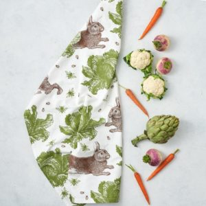 rabbit cand cabbage tea towel