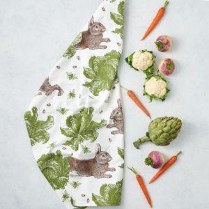 rabbit cand cabbage tea towel