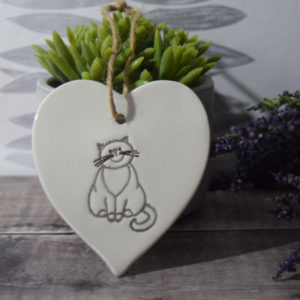 cat ceramic heart