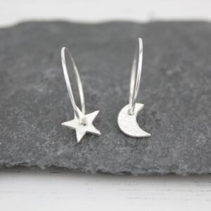 moon & star hoops by Lucy kemp jewellery
