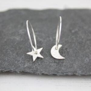moon & star hoops by Lucy kemp jewellery