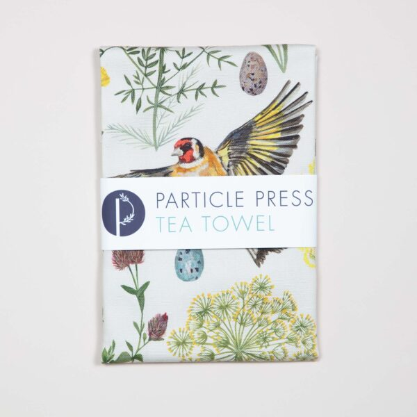 goldfinch tea towel by particle press