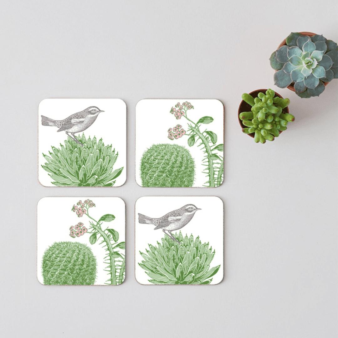 cactus and bird coasters