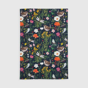 wren and ladybird tea towel by particle press