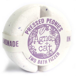 pressed peonies bath bomb by agnes & cat
