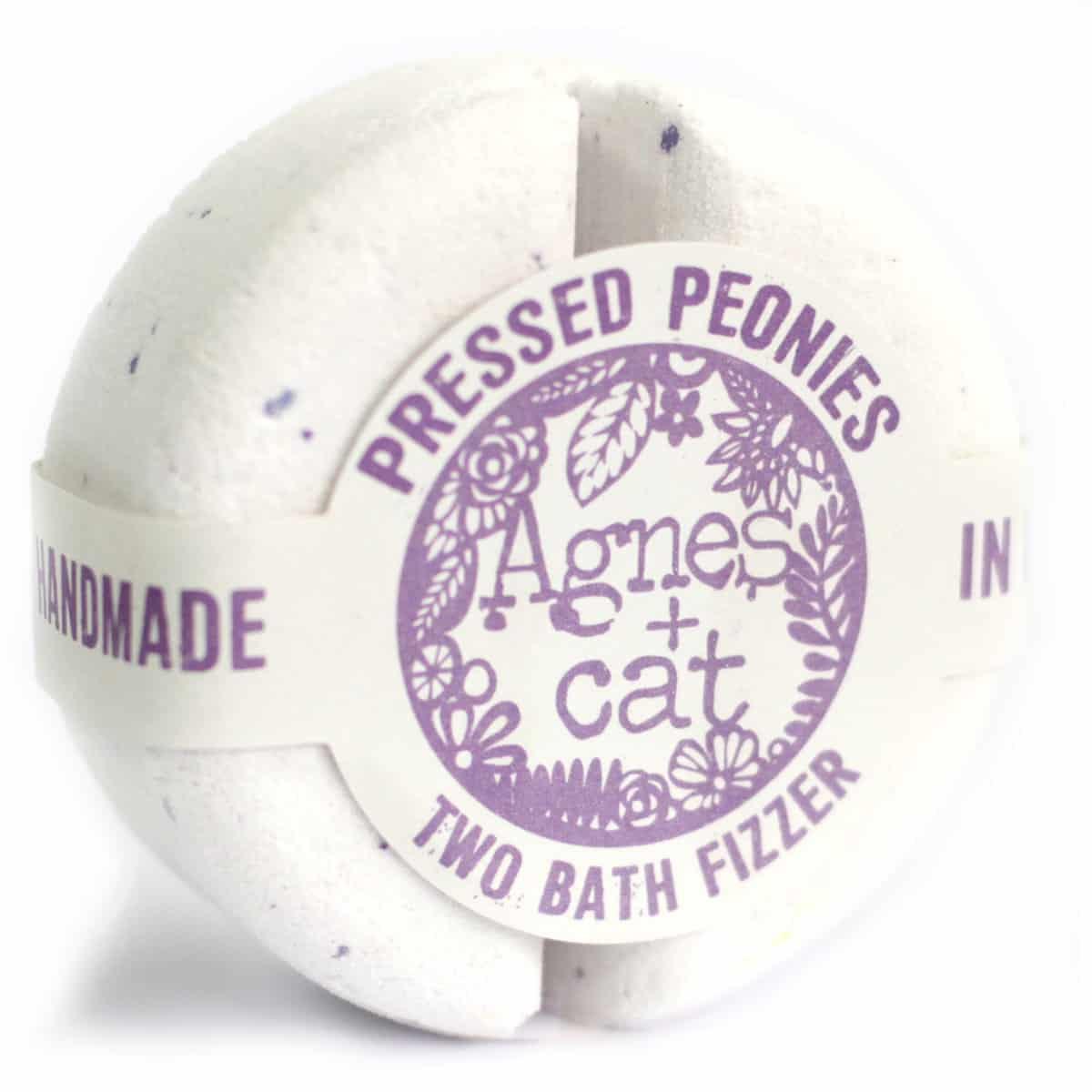 pressed peonies bath bomb by agnes & cat