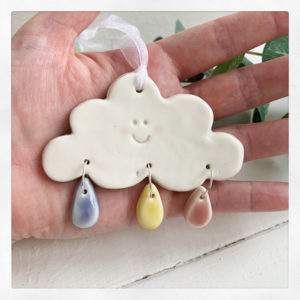Porcelain Cloud decoration. Raindrops