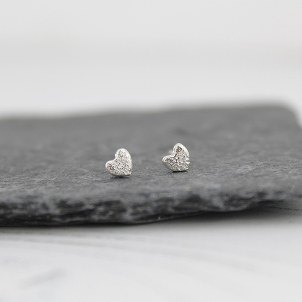 silver mini heart studs