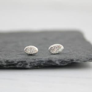 silver mini oval studs