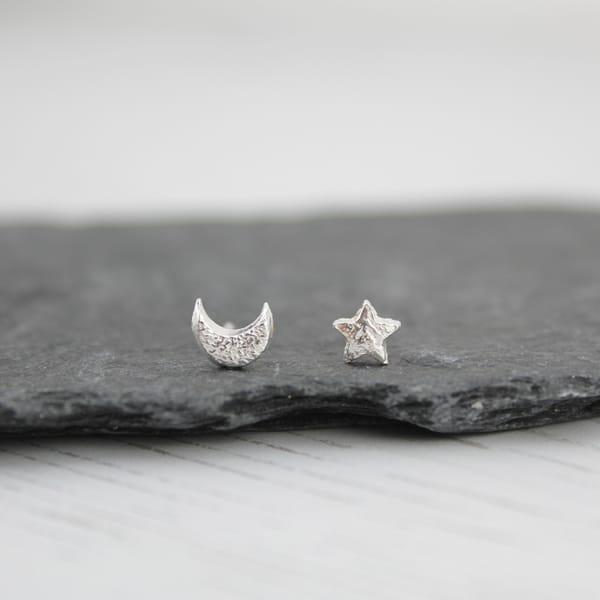 Silver Mismatch Mini Moon & Star Studs