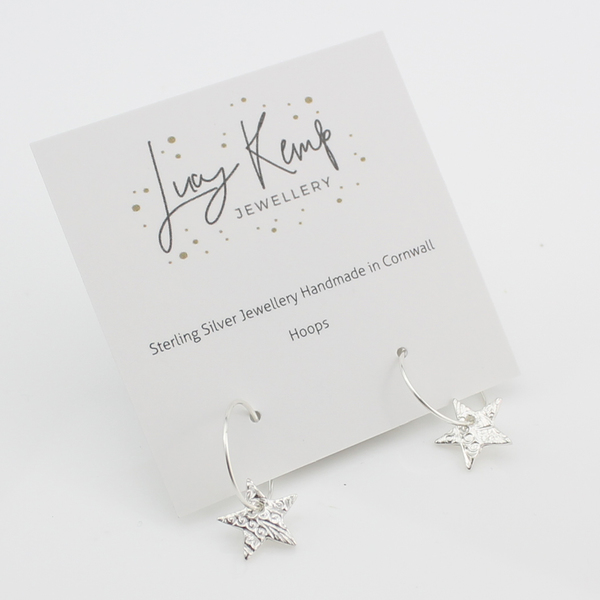 textured star hoops