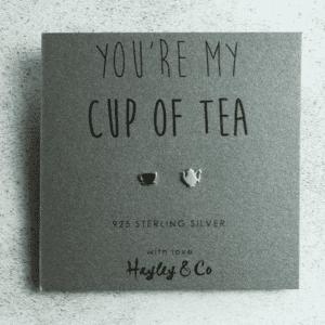 teacup sterling silver earrings