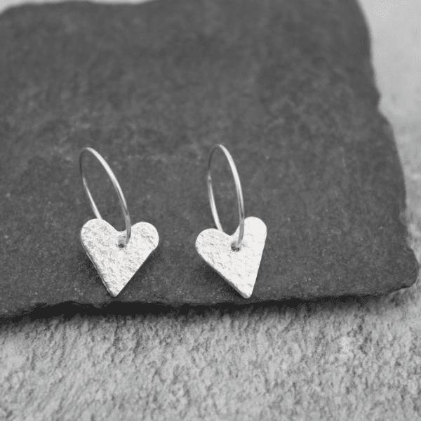 hammered heart hoop earrings