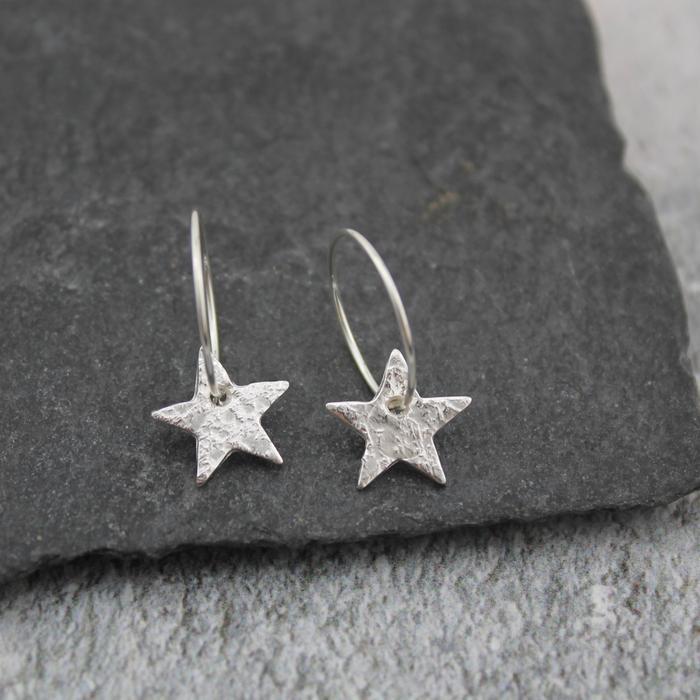 hammered star hoops
