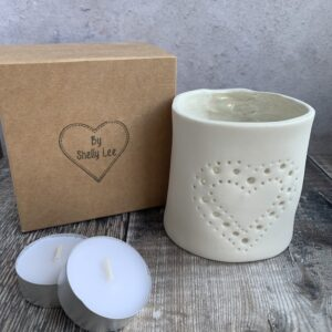 handmade porcelain tea light holder by shelly lee
