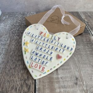 family pottery heart by shelly lee
