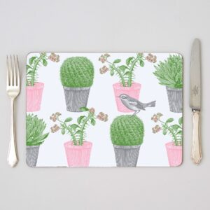 thornback and peel cactus and bird placemats