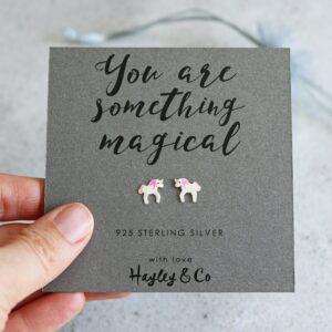 unicorn sterling silver charm earrings by Hayley & co