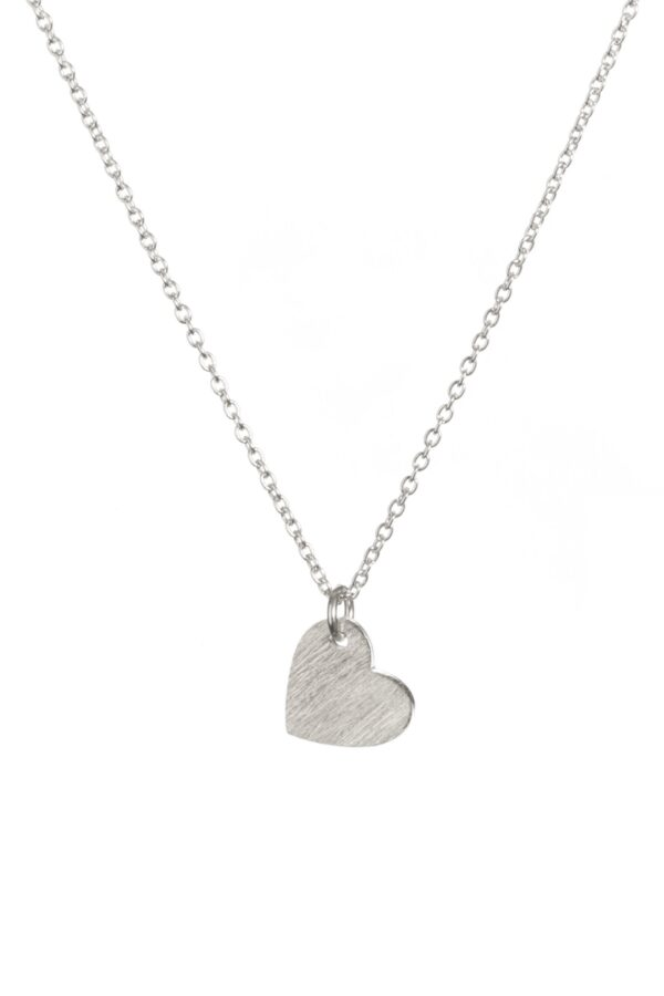 brushed sliver heart necklace