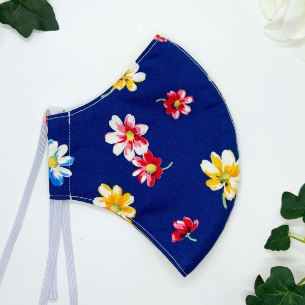 Floral navy face mask by srah louise hardwick