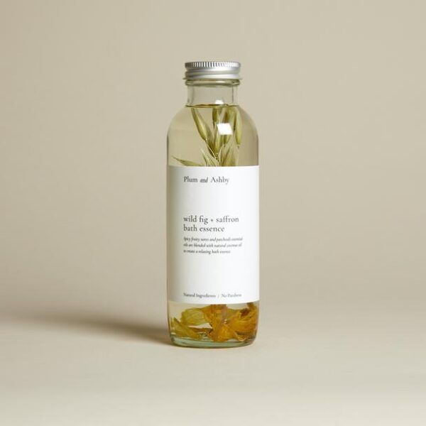 wild fig and saffron bath essence by plum and ashby