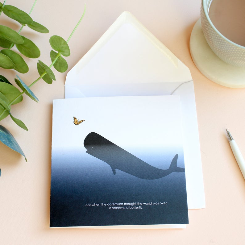 caterpillar became a butterfly whale card