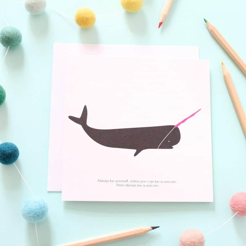 unicorn whale card
