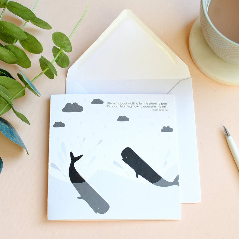 dancing in the rain whale card