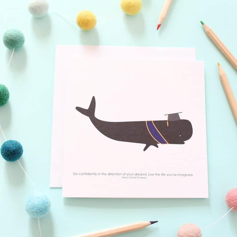 graduation whale card