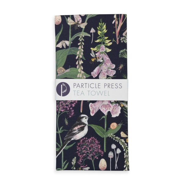 LONG TAIL AND FOXGLOVE TEA TOWEL - NAVY by particle press