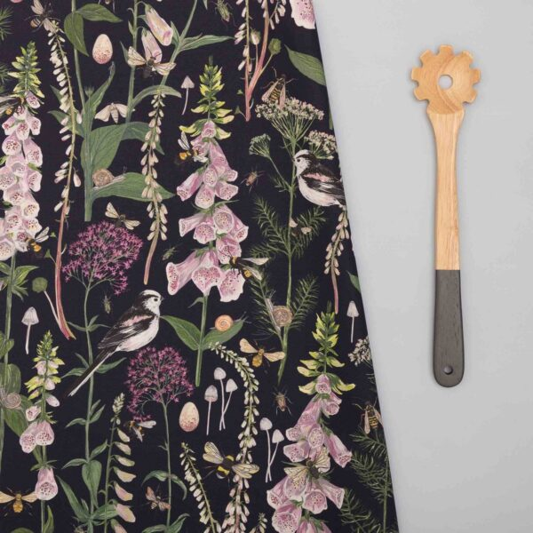 long tail and foxglove tea towel by particle press