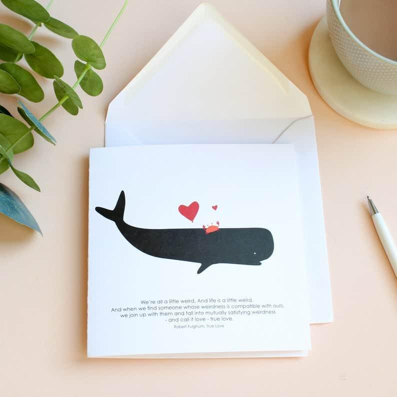 weird crab love whale card