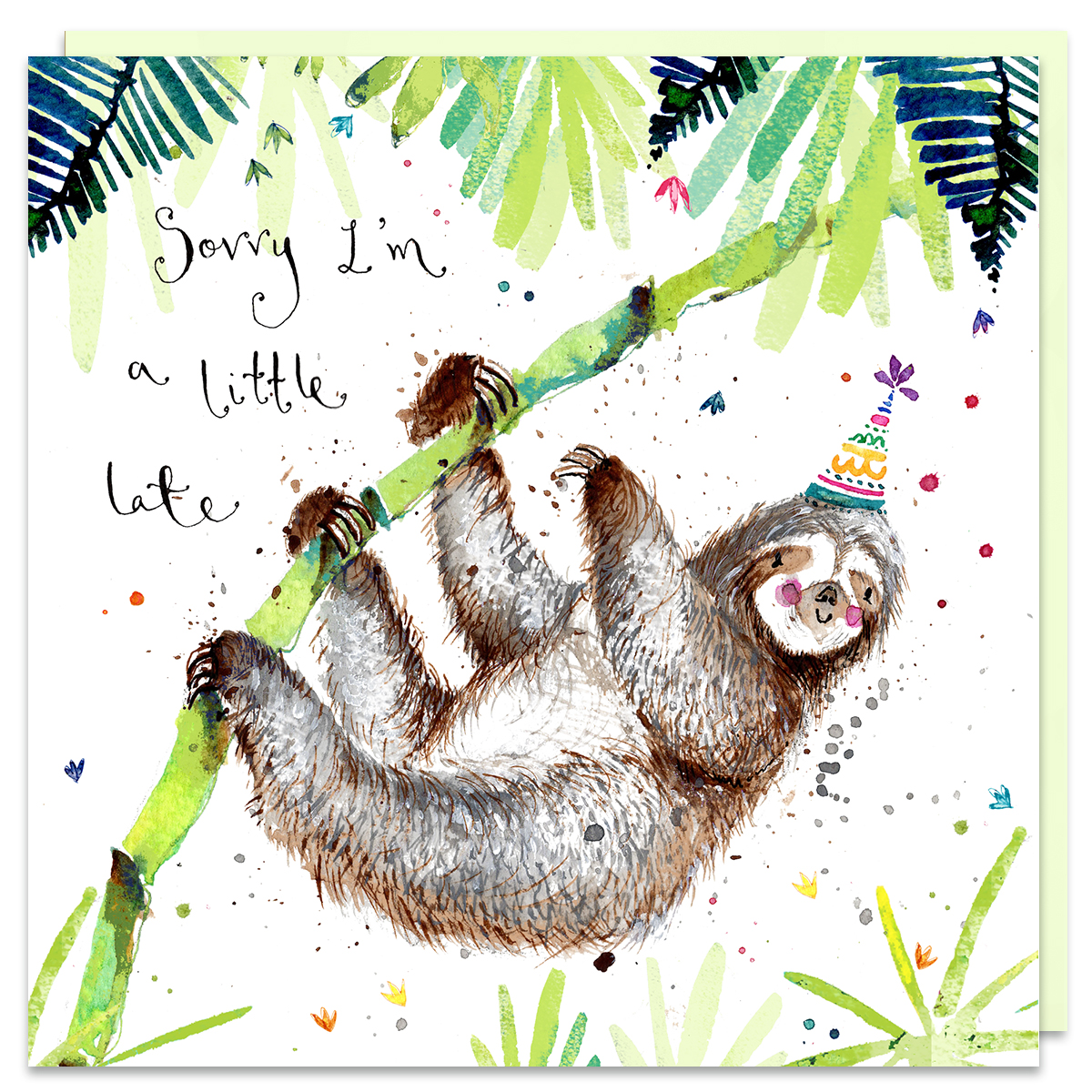 sloth sorry i am late card by louise mulgrew