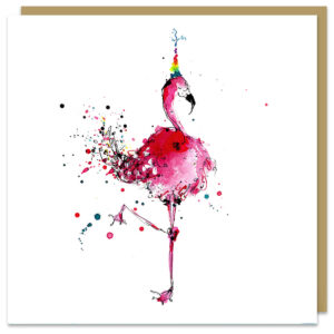 flamingo card by louise mulgrew