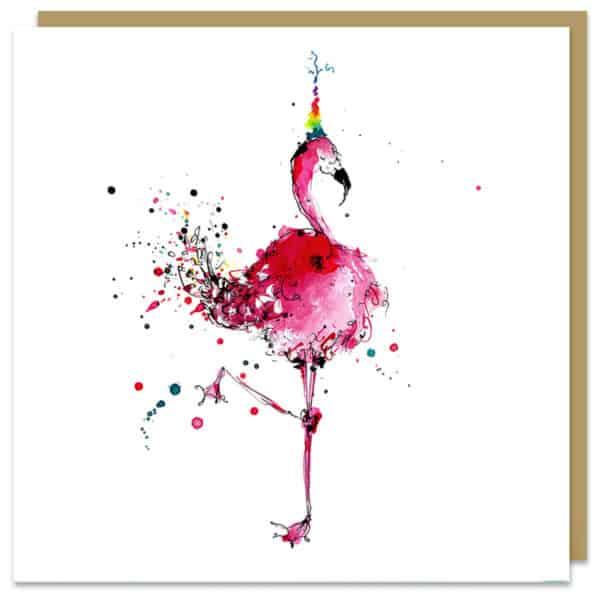 flamingo card by louise mulgrew
