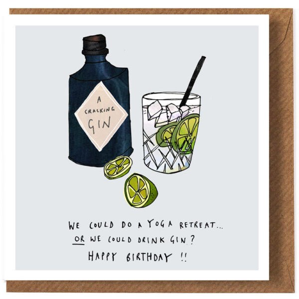 gin or yoga card by katie cardew