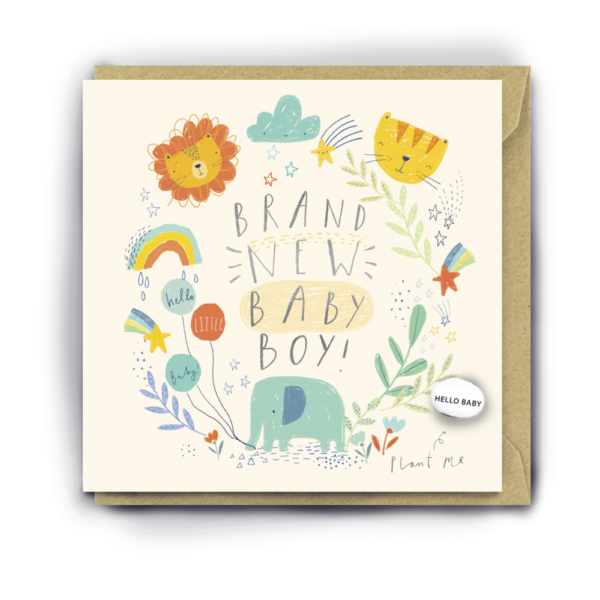 brand new baby boy card by lucy and lolly