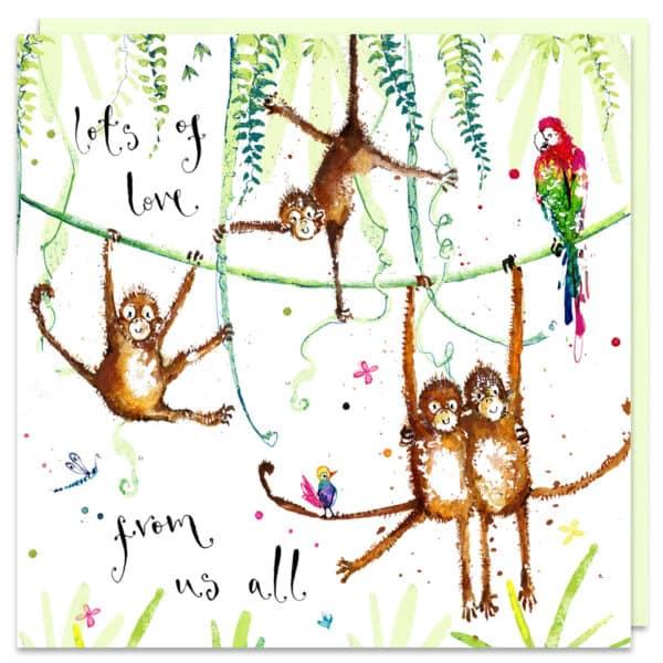 monkey family card by louise mulgrew