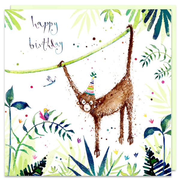 monkey birthday card by louise mulgrew