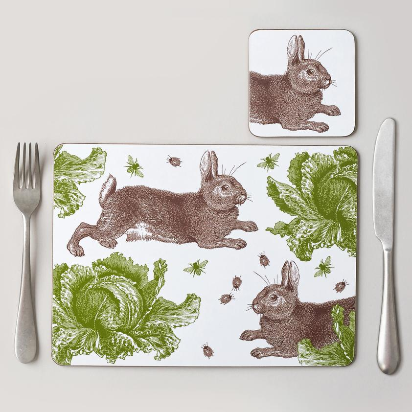 Rabbit & Cabbage Placemat Set of Four by thornback & peel