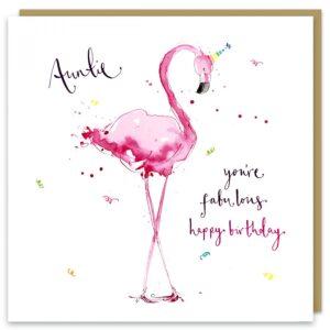 auntie flamingo card by louise mulgrew
