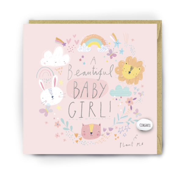 beautiful baby girl card by lucy and lolly