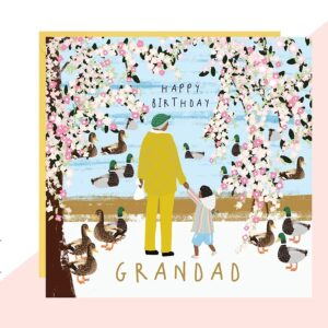 grandad feeding the ducks card by lottie simpson