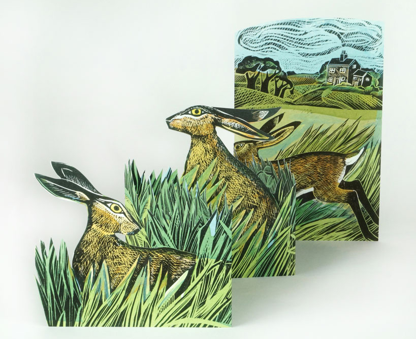 hares open field card by angela harding