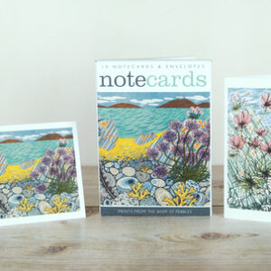 Pebble Shore / Sea Pinks, Island Shore notecards by angie lewin